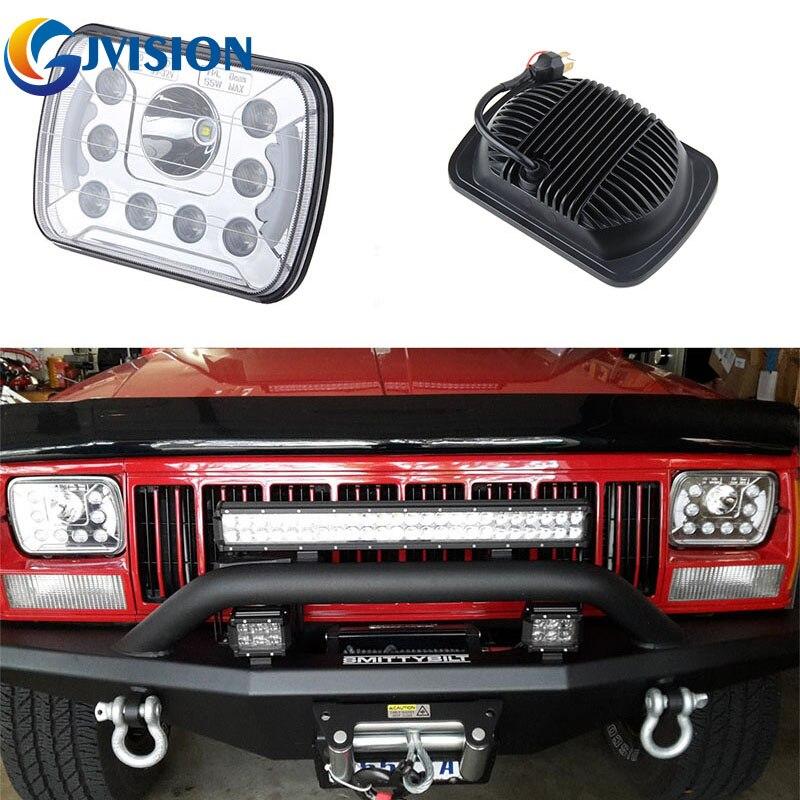 5X7 6X7 INCH LED Headlight Square 55W Hi/Lo Dual Beam headlamp for Jeep wrangler Toyota offroad Trucks head lights 2PCS Chrome czg 5755 55w led high power 5x7 led headlight with hi low beam angel eye for jeep trucks offroad 7 led work head lamps e9 mark