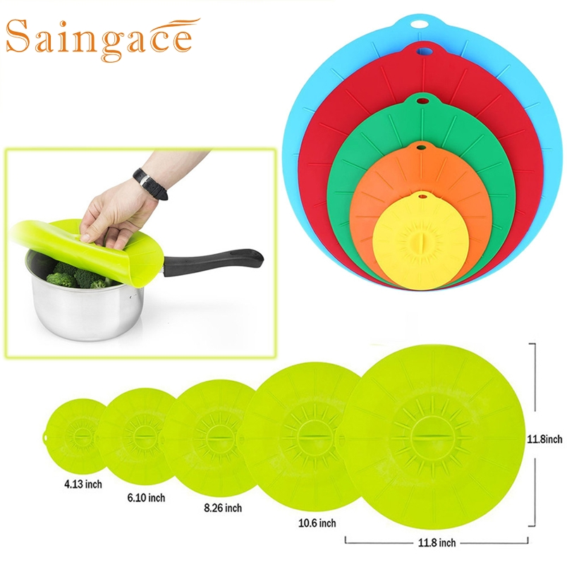 Saingace Silicone cover 5PC Lid Plastic Wrap Cover Microwave Oven Refrigerator Fresh Bowl Seal *25 GIFT 2017