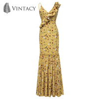 Vintacy Floral Print Wrap Ruffles Maxi Dress Women Sexy Strap V Neck Mermaid Beach Dress Asymmetrical