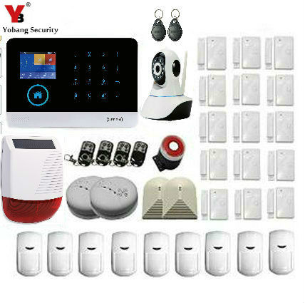 Yobang Security Russian French Spanish WIFI Home Security GSM SMS Burglar Alarm System Video IP Camera Solar Power Siren APP yobang security wireless home alarm wifi app control gsm sms burglar security alarm system outdoor ip camera solar power siren