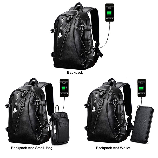 LIELANG Men Backpack External USB Charge Waterproof  Backpack Fashion PU Leather Travel Bag