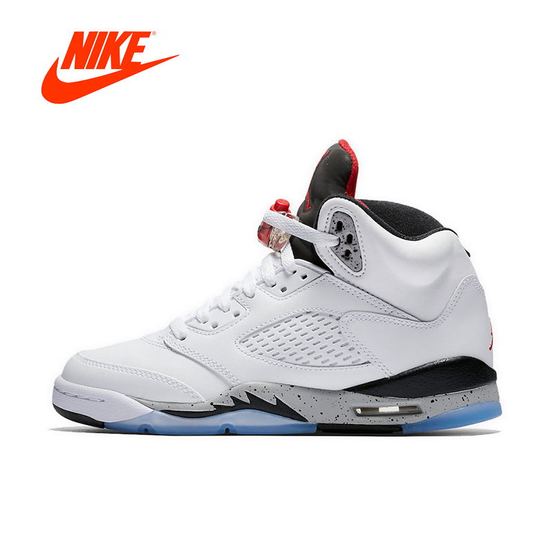 Official Original Nike Air Jordan 5 White Cement AJ5 Men's Basketball Shoes Sneakers440888-104 спортивные шорты nike air jordan nike jordan aj5