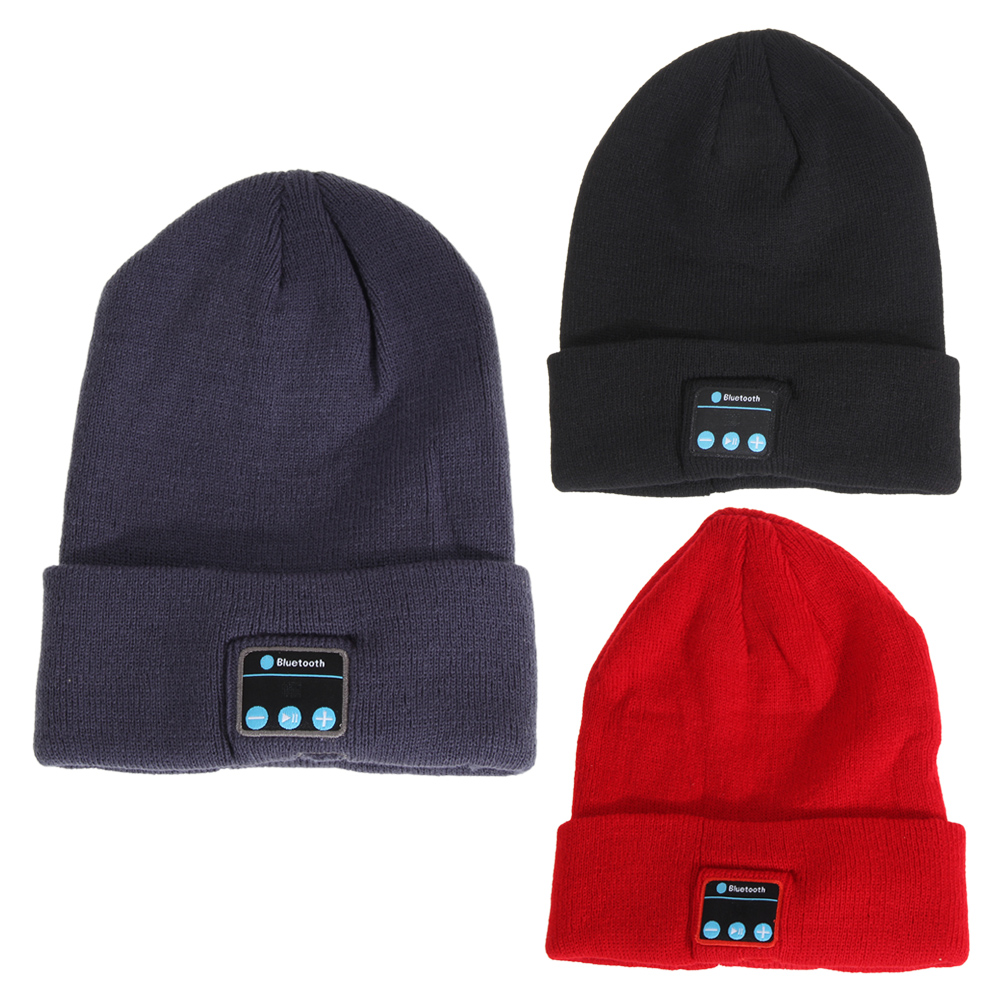 Wireless Bluetooth Smart Cap Knitted Soft Warm Beanie Hat Headphone Headset Caps Handsfree Phone Calls with Microphone Black Red