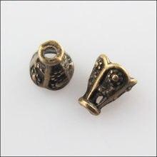 Moda 60 pces antiqued bronze cor cone flor fim talão tampas conectores 5.5x6.5mm