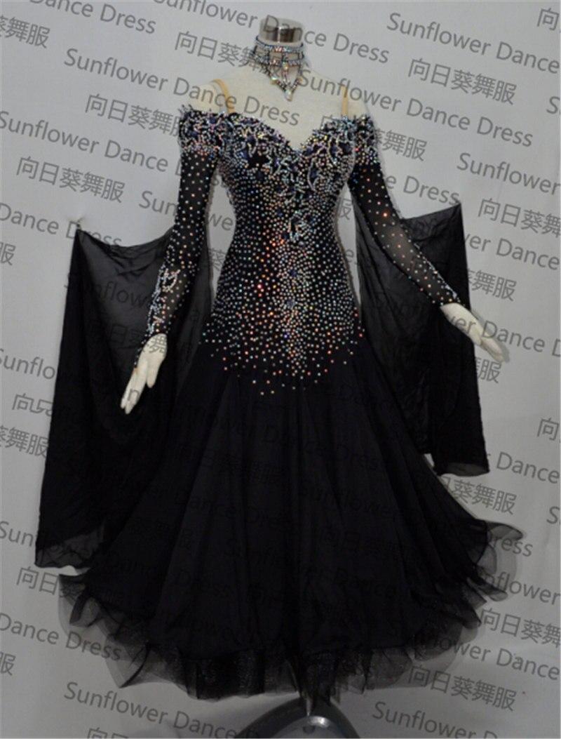 Nuovo standard vestito da ballo, sala da ballo concorso di danza abiti, Vestito Chiffon, Vestito delle donne abiti da ballo, moderni pannelli esterni di ballo, colore nero