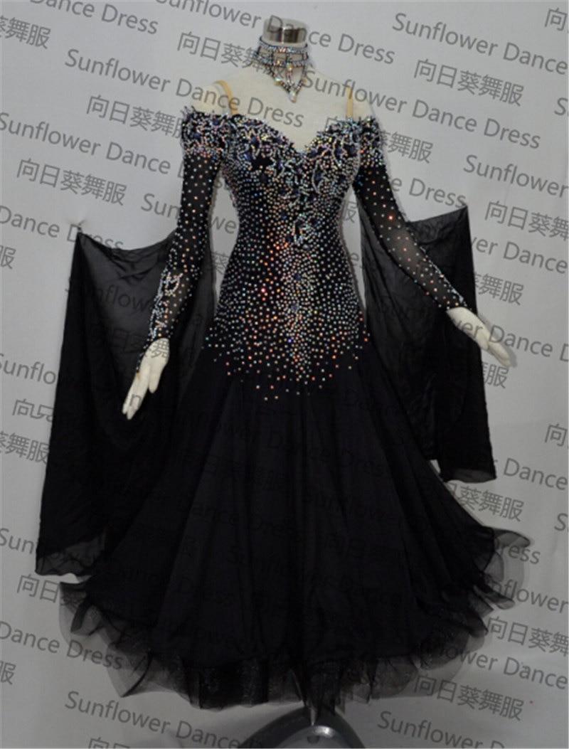 uus standardtantsu kleit, ballisaalide võistluskleidid, šifoonikleit, naiste tantsukleidid, moderntantsu seelikud, must värv