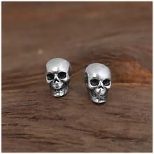 925 Plata de Ley Pendientes Espárragos Set Pequeño Cráneo del Punk Rock Gótico Masculino Personalidad de La Joyería Retro Para Hombres Y Mujeres Brinco