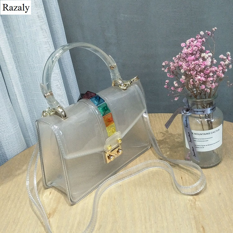 Razaly brand summer beach pvc tote clear transparent candy rivet chain bag small satchels purse and