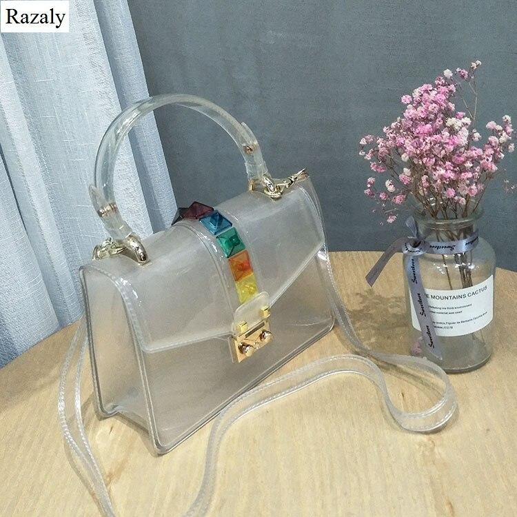 Razaly brand summer beach pvc tote clear transparent candy rivet chain bag small satchels purse and handbags designer 2018 hot алиэкспресс сумка прозрачная