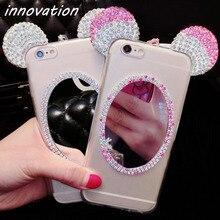 Innovation Rhinestone Soft Silicone Case For Samsung Galaxy S8 Plus Glitter Cute Luxury 3D Diamond Cover Mickey Ears Mirror Capa