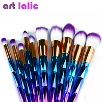 Artlalic 10Pcs Professional Blusher Makeup Brushes Set Foundation Eyeshadow Powder Cosmetic Tools Kit Function Bursh