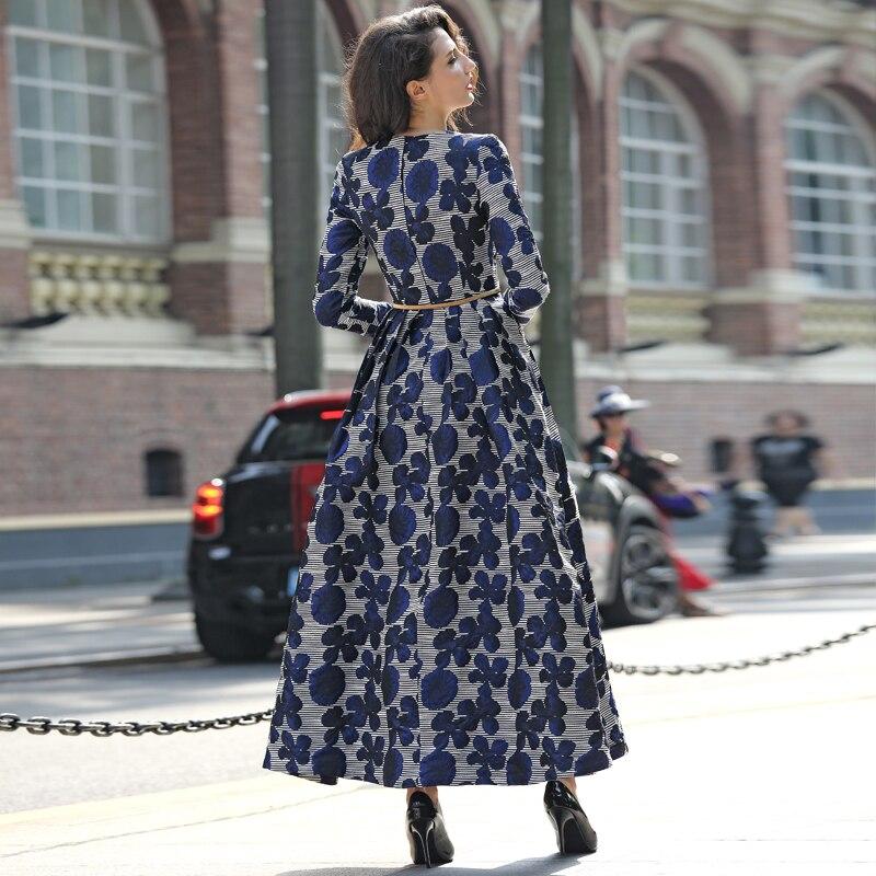 Hohe Qualität Neue Frauen Boho Langarm Mode Kleid Vintage Navy Blau Floral Jacquard Kleid Herbst Winter Lange Maxi Kleid-in Kleider aus Damenbekleidung bei  Gruppe 2