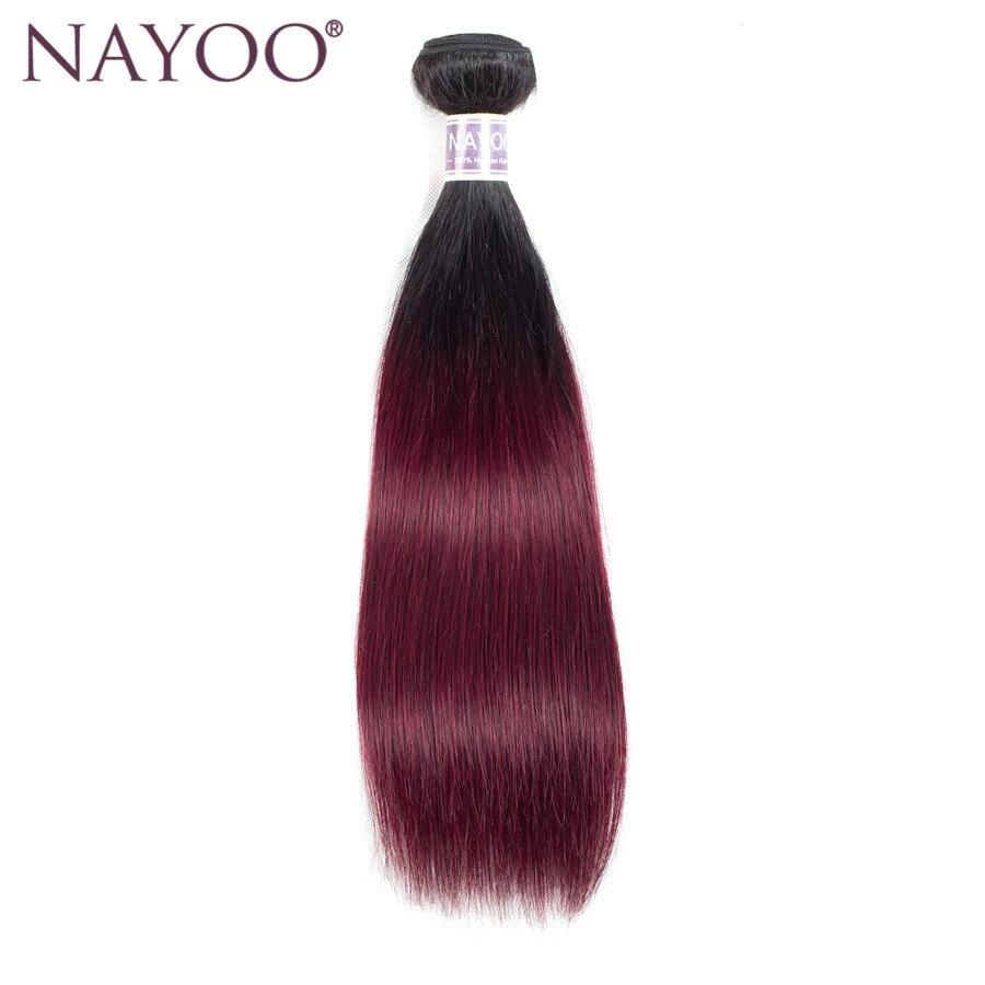 NAYOO Förfärgade Ombre T1B / BUG Mänskliga Hårpaket Brasilianska - Mänskligt hår (svart)