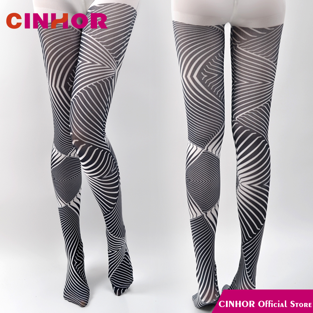 Cinhor Design Blackwhite Stripe Gradient Vintage Printing Pantyhose Jacquard Leg Slimming Hips Molding Breathable Elastic Tight In Tights From Underwear