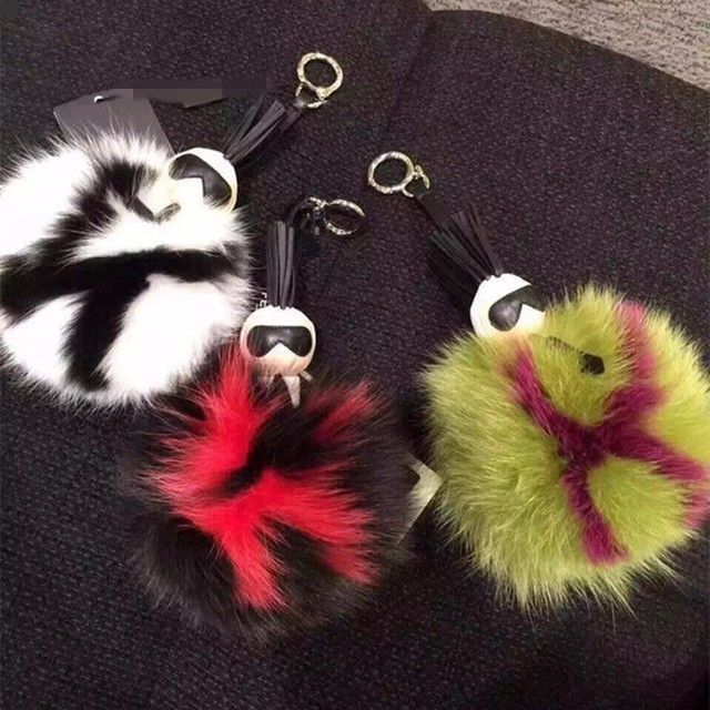 Real fur keychain backpack charm Galeries lafayette key chains Pom Pom monster fur ball keyring
