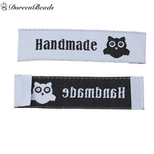 DoreenBeads Terylene Woven Printed Labels Tags DIY Scrapbooking Craft Rectangle Owl Handmade Heart 60mm x 15mm, 50 PCs
