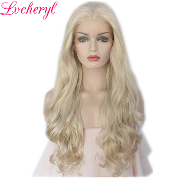 Lvcheryl Hand Tied Long Natural Blonde Body Wave Style Heat Resistant Fiber Hair Synthetic Front Lace Wigs for White Women