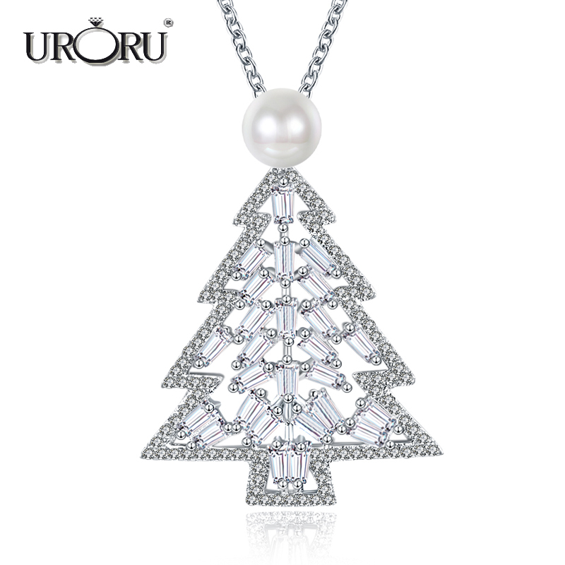 URORU Necklace, Fashion Luxury Snowy Pearl & AAA Silver Clubic Zriconia Jewelry Chritmas Tree Necklace for Women Gifts