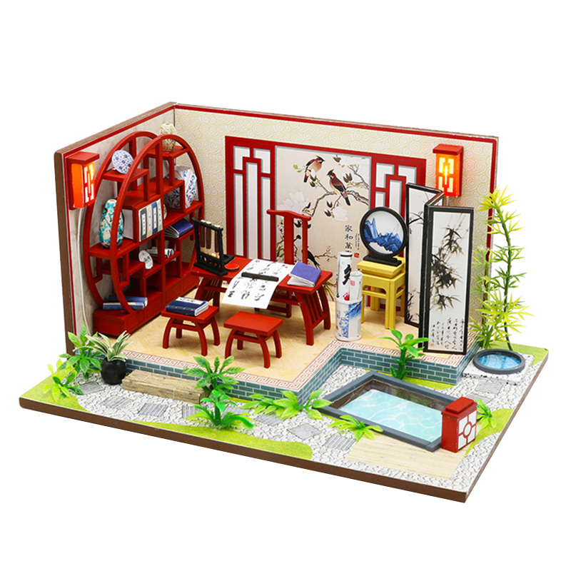 DIY Dollhouse Creative Chinese Style Wooden Doll Houses Building Model Miniature Doll House With Furniture Kit Led Lights Toys