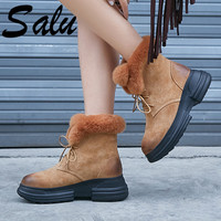 Salu/Новинка; женские ботинки из коровьей замши; ботильоны на платформе и высоком каблуке; женская обувь черного цвета; женская обувь с круглы