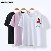 EDENCOMER Plus Size Rose Embroidery Letter Printing T Shirt For Women Large Size 4xl White Black