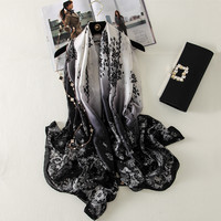 Floral Pattern Muffler Women S Silk Scarf Fashion Sunscreen Silk Twill High Quality