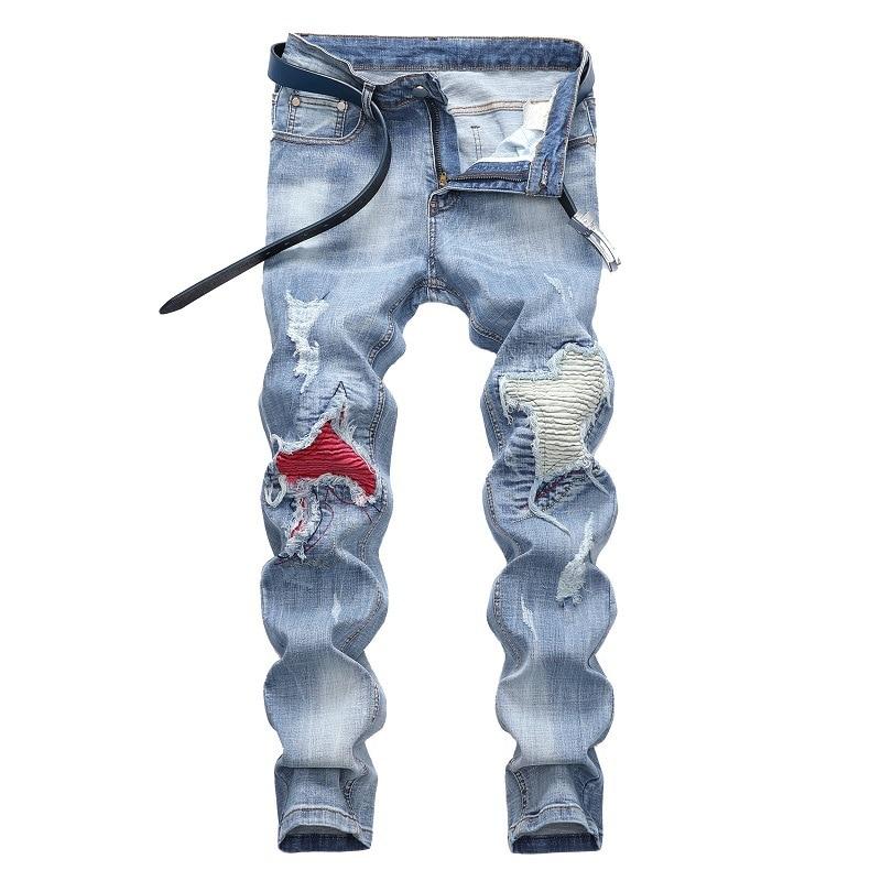 Mens Skinny Motorcycle Jeans Distressed Slim Elastic Biker Jean Trousers Stretch Denim Pants Wash Ripped Jeans Light Blue 28-42