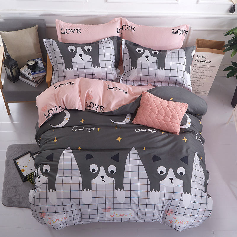 Cartoon Cat 4pcs Girl Boy Kid Bed Cover Set