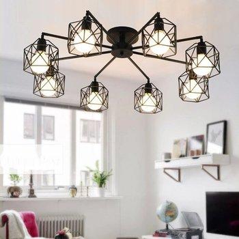 3/5/8 головок простой черный металл отделка гостиной потолочный светильник гладить лампа из прутьев Dinging лампы бар кафе свет Бесплатная доста...