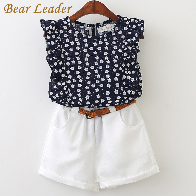 Bear Leader Girls Sets 2017 New Children Clothing Flowers Printing Shirt+Short Pants With Pu Belt 2Pcs Sets For 3-7 Years new language leader advanced coursebook with myenglishlab pack