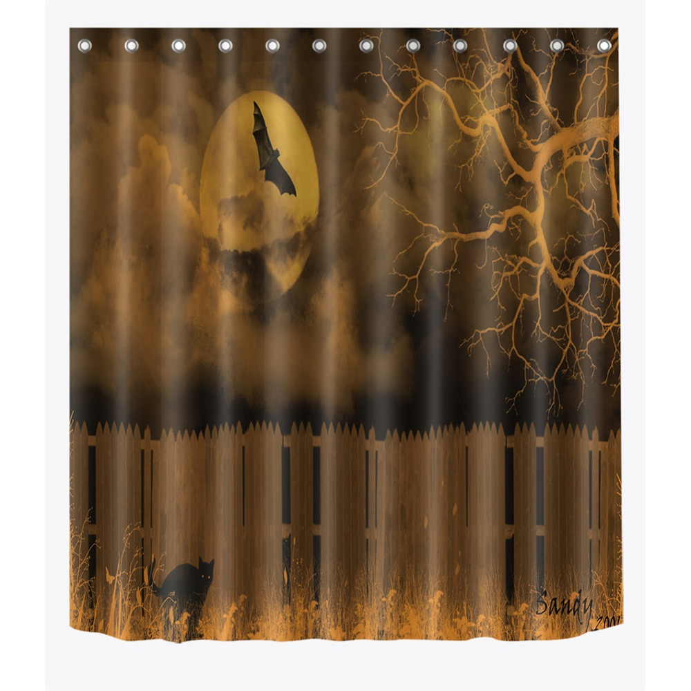 72'' Wooden Fence Black Cat Withered Tree Bats Bathroom Waterproof Fabric Shower Curtain Polyester 12 Hooks Bath Accessory Sets