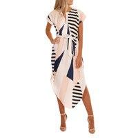 JAYCOSIN летнее платье женское повседневное с коротким рукавом v-образный вырез с принтом Макси платье с поясом до колена Vestidos Verano 2019