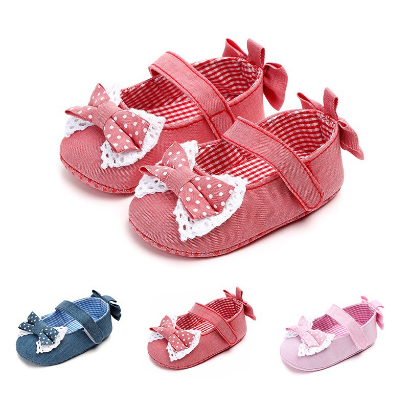 Plaid Bow Baby Shoes Newborn 0-18M Autumn Cute Bow Plaid Casual Baby Girl Shoes First Walkers Princess Shoes