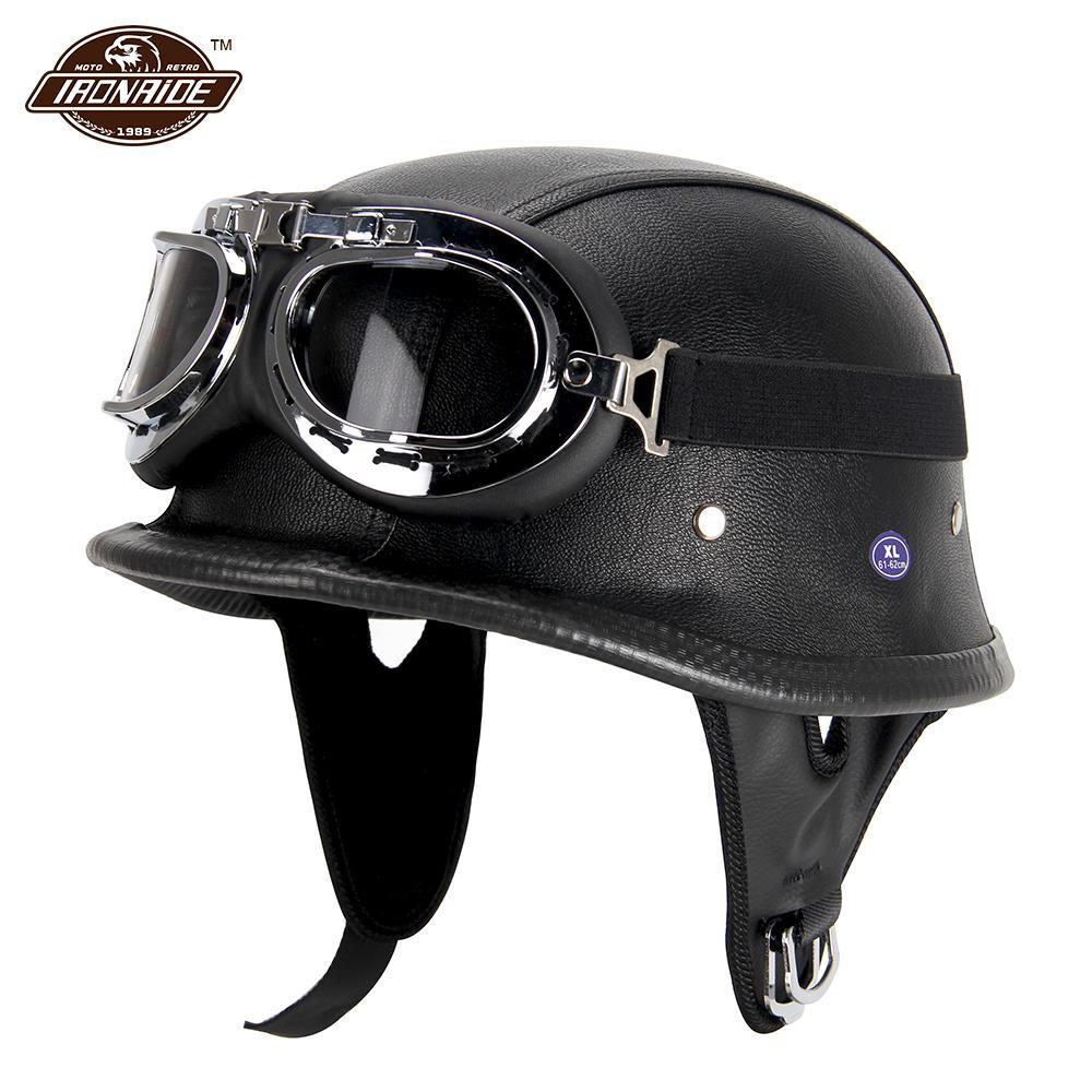 Новый кожаный мотоциклетный шлем, немецкий мотоциклетный открытый шлем, полушлем Чоппер, Байкерский пилот, черный горошек