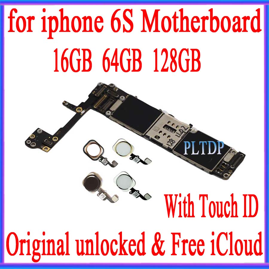 For <font><b>iphone</b></font> <font><b>6s</b></font> <font><b>motherboard</b></font> with touch ID/without touch ID, unlocked NO iCloud with chip IOS tested <font><b>16GB</b></font>/64GB/128GB image