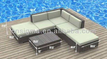 Modern Outdoor Backyard Wicker Patio Furniture Sofa Sectional 6pc  All Weather Couch Set