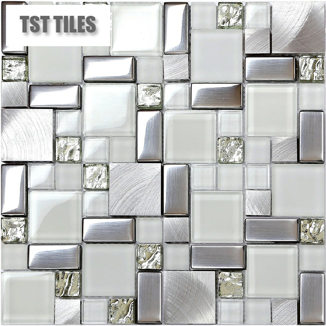 Mosaics Silver Tile Kitchen Backsplash Tiles Metal Glass Bathroom Mirror  New Pattern Shower Walls Stickers Mesh