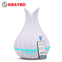 KBAYBO 400ml air humidifier with white wood remote grain aroma oil diffuser air purifier 7colors options lamp for office все цены