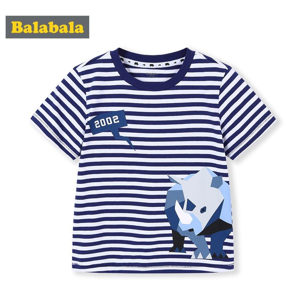 T-Shirt Short-Sleeve Balabalachildren's-Clothing Print Baby Striped Summer New Fashion
