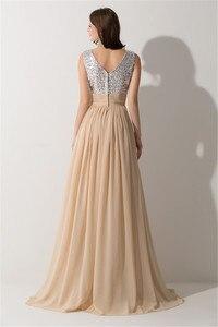 Image 3 - Vestido Madrinha Sexy V Neck szampana szyfonowe suknie dla druhen odblaskowa sukienka na ślub szata na imprezę Demoiselle Dhonneur