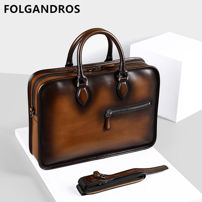 Brand Vintage Handmade Italian Genuine Leather Briefcase 2019 Men's Hand Patina Messenger Shoulder Bags Laptop Business Case Bag