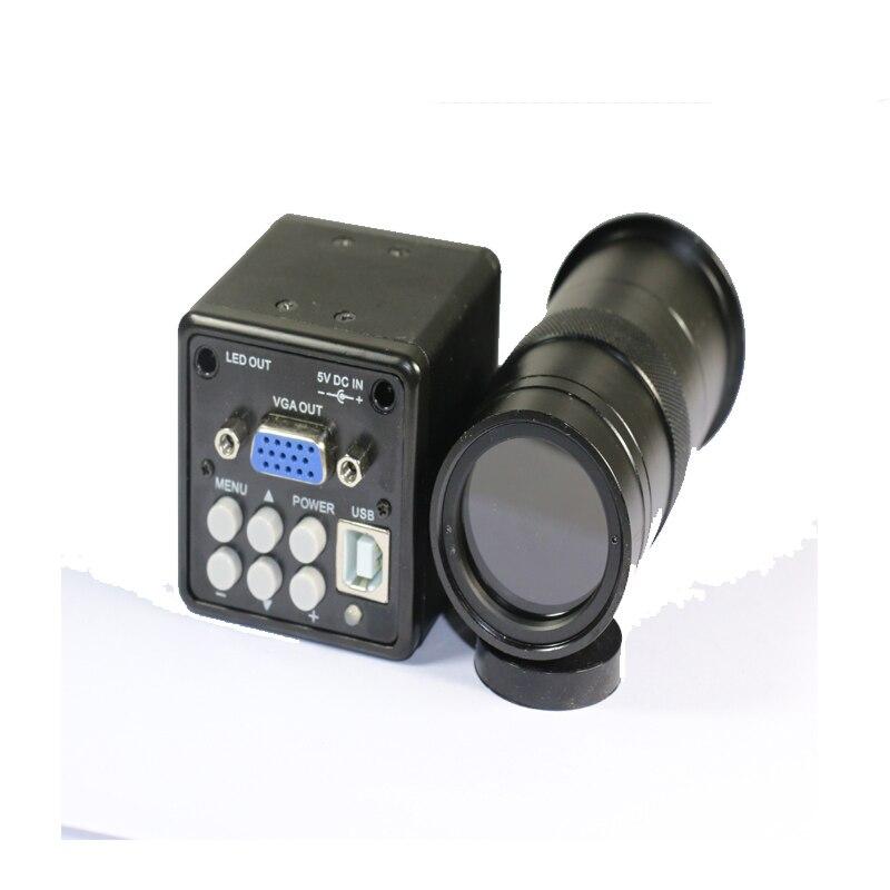 2 в 1 USB VGA выходы CCD CMOS промышленный микроскоп камера + 100X C Mount объектив для bga IC телефона pcb