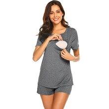 3efe20c11c191 Maternity Pajamas for Hospital Set Short Sleeve Breastfeeding Pregnancy Nursing  Pajamas hamile pijama maternity nightwear pajama