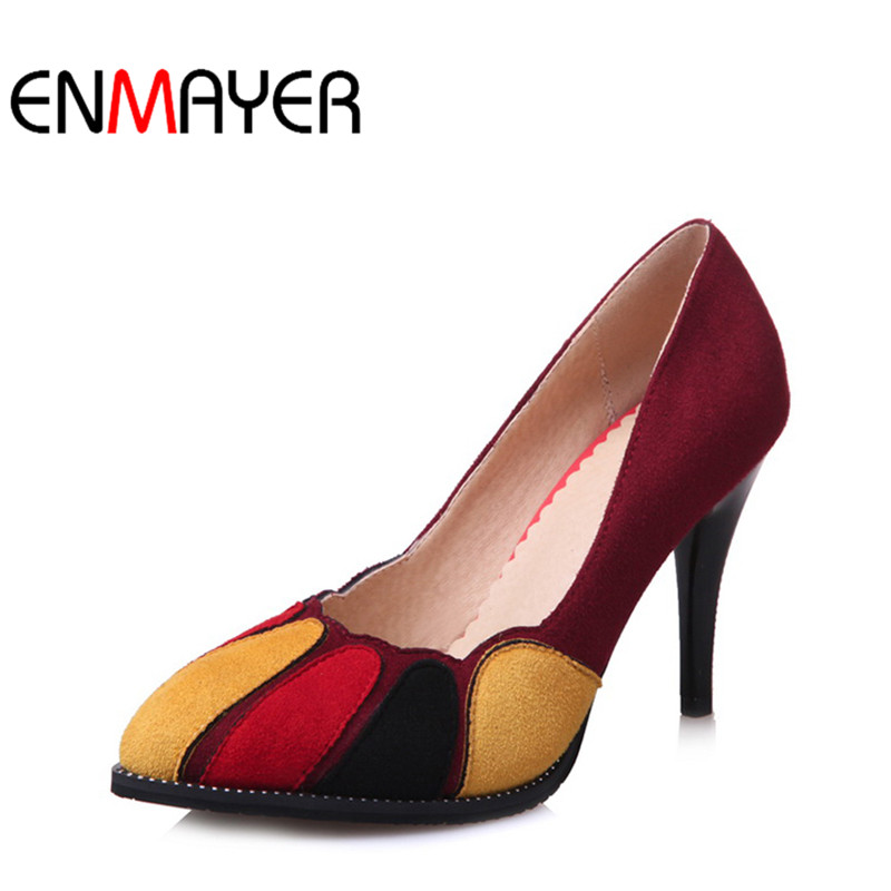 ФОТО ENMAYER Multi Colors Office Shoes Women Sexy Flock Round Toe Pumps High Heels Slip-On Hot Sale Fashion Platform Women Pumps