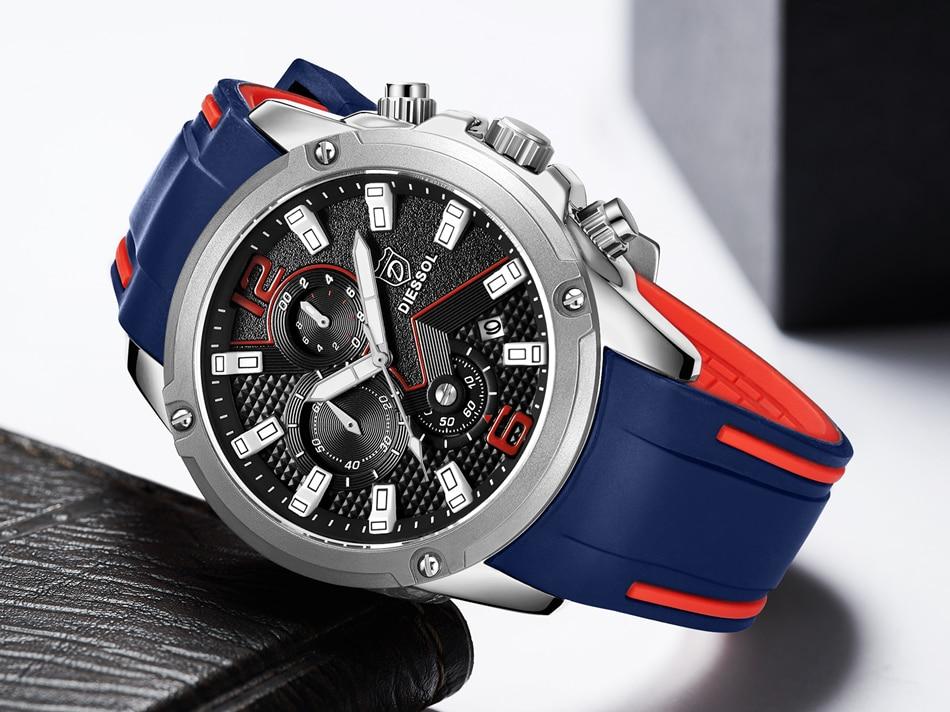 DIESSOL Men's Fashion Sports Quartz Watch Mens Watches Top Brand Luxury Rubber Band Waterproof Business Watch Relogio Masculino 9