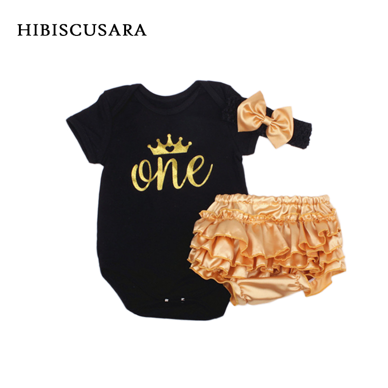 Baby Girl Clothes 3pcs Clothing Sets Black Cotton Rompers Golden Ruffle Bloomers Shorts Headband Newborn Bebe Birthday Outfits cupcake zebra print lace petti rompers tutu dress with headband toddler birthday outfits vestido bebe newborn baby girl clothes