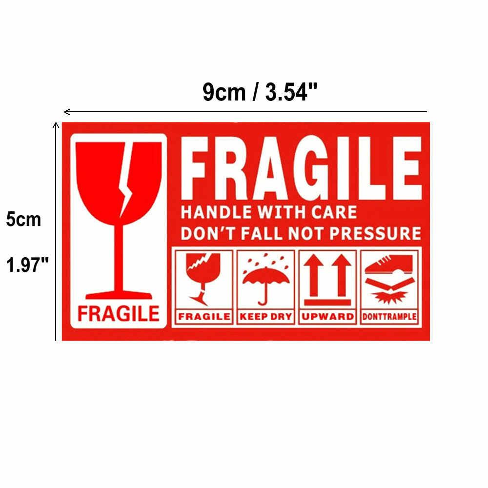 Etiqueta adhesiva de advertencia Fragile, 100 unids/lote, 9x5cm, etiqueta adhesiva Fragile Up and Handle con cuidado, etiqueta exprés de envío en seco