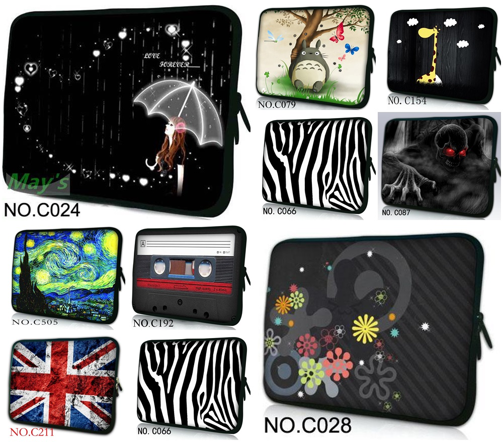 New Fashion Carry Sleeve Case Neoprene Protect Cover For 10 12 13 14.1 15 inch Tablet Notebook Laptop Bag 15.6 13.3 10.6 10.1 PC okade skull pattern neoprene protective sleeve bag for 7 cell phone tablet pc white black
