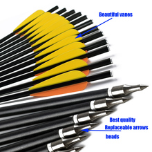 Crossbow Hunting 6/12Pcs 13Inch Orange Yellow Feather Bolt Carbon Arrow For Crossbow, Variable Tip, High Quality