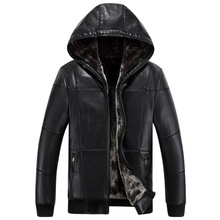 2017 New Leather Jacket Men Hooded Brand Warm Winter Leather Jackets Coats High Quality Leather Jacket Fur Men Large Size XXXL